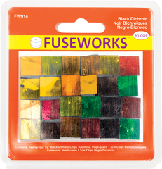 "Fuseworks 1/2"" Chips   Black Dichroic   90 Coe   24 Pc Pack"