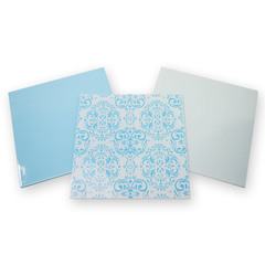 8x8 Aqua Opalescent Glass Pack 3pcs