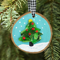 Christmas Tree Wood Slice Ornament